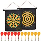 BUGYOO Magnetic Dart Board for Kids Adults with 12 Magnetic Darts, Indoor Outdoor Darts Game, Reversible Rollup Kids Safe Dart Board Set for Boys Girls Easy Hanging Classic Dart Board Toys