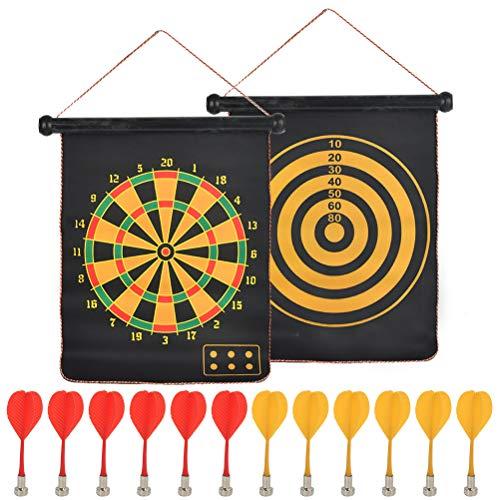 FOROREH Magnetische Dartscheibe für Kinder und Erwachsene mit 12 Magnetpfeilen, Reversibles Rollup Sicher Dart Board Set für Jungen Mädchen, Mit Saugnapfhaken zum Aufzuhängen