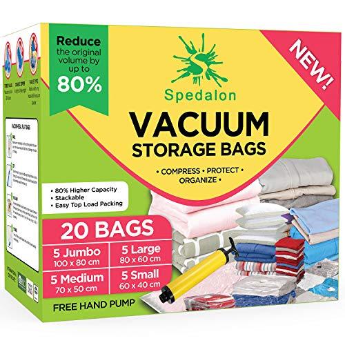 Sacchetti sottovuoto – Confezione da 20 (5 Jumbo + 5 Large + 5 Medium + 5 Small) riutilizzabili con pompa manuale gratuita per il trasporto | Migliori sacchetti sigillanti per vestiti, piumini