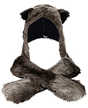 Anime Faux Animal Hood Hoods Mittens Gloves Scarf Spirit Paws Ears Grey Wolf