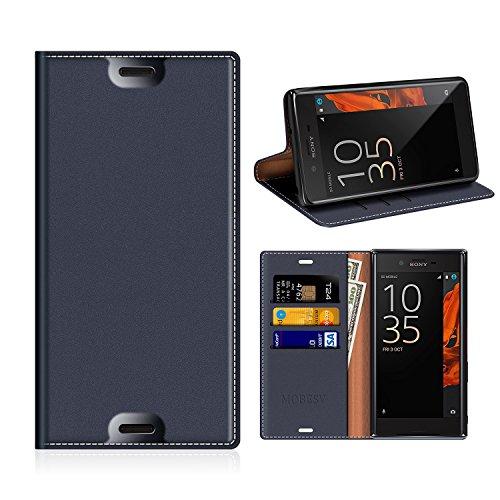MOBESV Sony Xperia XZs Hülle Leder, Sony Xperia XZ Tasche Lederhülle/Wallet Hülle/Ledertasche Handyhülle/Schutzhülle mit Kartenfach für Sony Xperia XZs/XZ - Dunkel Blau