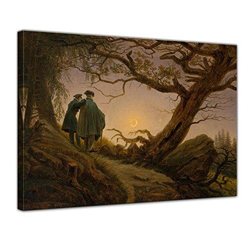 Wandbild Caspar David Friedrich Zwei Männer in Betrachtung des Mondes - 60x50cm quer - Alte Meister Berühmte Gemälde Leinwandbild Kunstdruck Bild auf Leinwand