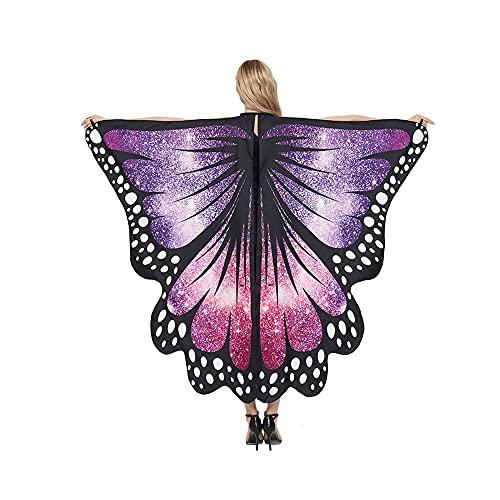 I3CKIZCE - Capa de mariposa para mujer con degradado de color para Halloween, accesorio de cosplay de alas de mariposa Chic de colores para fiesta de baile, vacaciones, cosplay, morado, Talla única