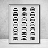 Poster Inspired by BMW M Car History Poster Print Wall Art of all BMW M Series Cars (BMW Car Models: M3, M4, M5, M2, M6, M1 and many more!)