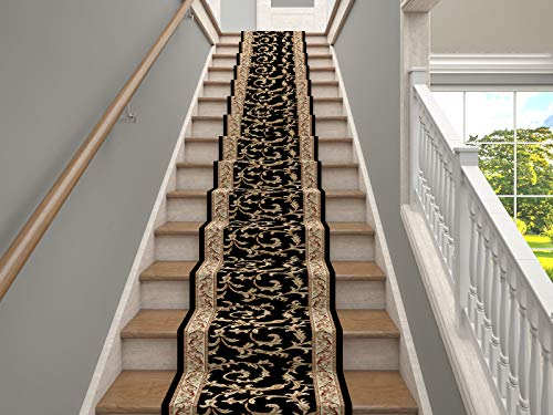 Marash Luxury Collection 25' Stair Runner Rugs Stair Carpet Runner with 336,000 Points of Fabric per Square Meter, Veronica Black