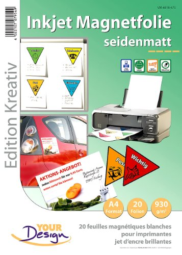 Your Design Magnetpapier: 20 Inkjet-Magnetfolien A4 matt/weiß (Magnetfolie bedruckbar)