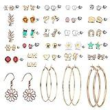 28 Pairs Assorted Multiple Stud Earrings set for Girls Simple Hoop earring set (Color-3)
