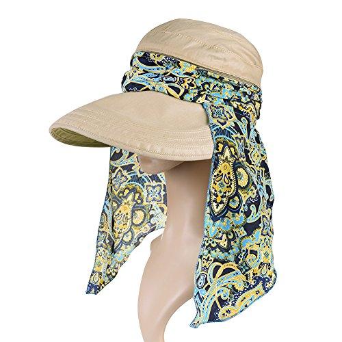 Vbiger Visor Hats Wide Brim Cap UV Protection Summer Sun Hats For Women (Khaki)