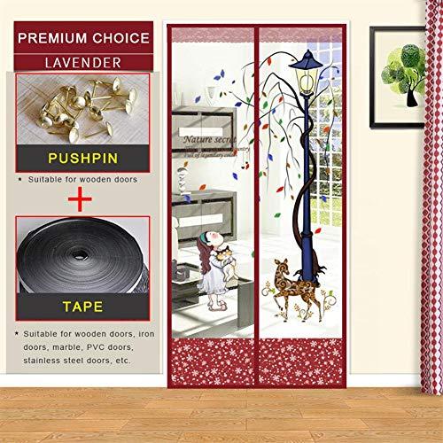 Fly Screen Door, Magnetic Fly Insect Screen Door Screen Mesh Curtain Past Deur, eenvoudig te installeren zonder boren, Keep Fresh Air in & Bugs Out,Red,120×220cm(47×89