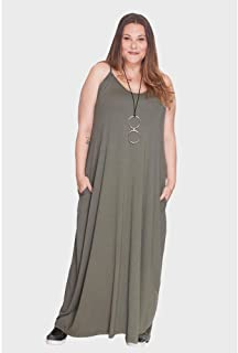 Vestido Longo Alça Fina Plus Size