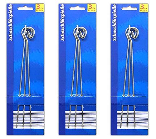 HAC24 9X Schaschlik-Grillspieße Edelstahl Schaschlikspieße Fleischspieße Metallspieße