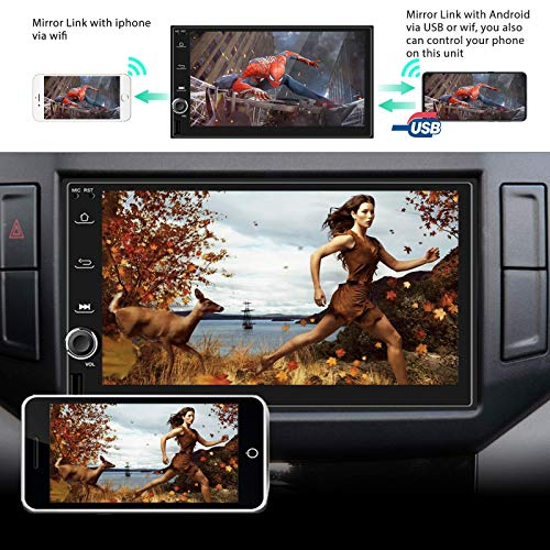 Android Car Stereo Double Din with Navigation 7 Inch HD Touch Screen Car Multimedia Radio Audio Bluetooth FM GPS WiFi USB Mirror Link Split Screen with Backup Camera