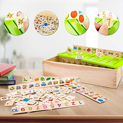 Wooden Montessori Toys for Toddlers Learning Activities Sorting Box Educational Toys Preschool Kindergarten Games Autism ToysMatching Fine Motor Skills STEM for Kids Girls Boys Age 1-2 2 3 4 Year Old