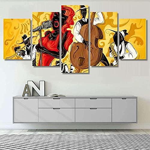 Impresión Pinturas Murales 5 Piezas XXL Decoracion Pared Vector de arte abstracto jazz 3 Cuadros Camara Poster Fotográfico De Lienzo Decoración para El Hogar Modular