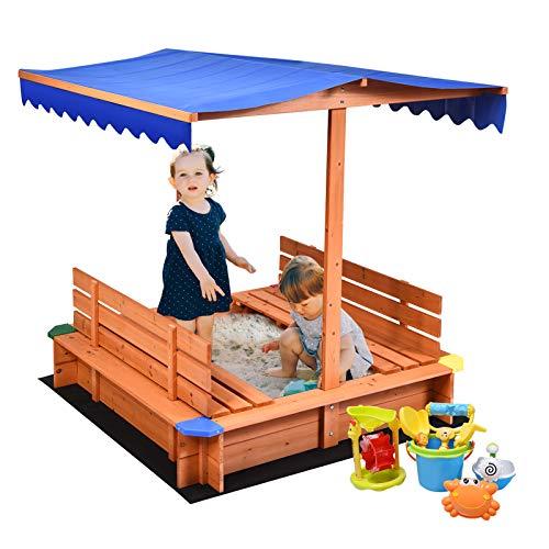 Costzon Kids Wooden Sandbox with Canopy, Cedar Square Cabana...