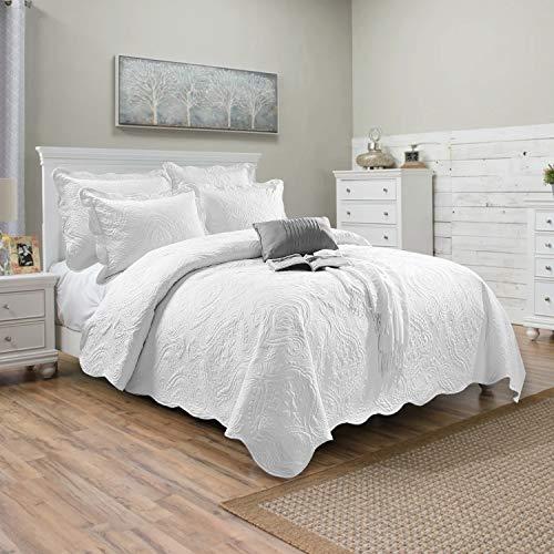 Oxford Homeware Tagesdecke Bettüberwurf Bettwäsche Set Poly Baumwolle Steppdecke Weich gesteppt Tagesdecken + Kissenbezüge (Weiß, 240x260 cm)