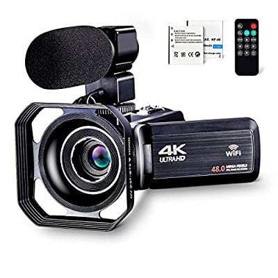 "4K Camcorder Vlogging Camera for YouTube Ultra HD 4K 48MP Video Camera with Microphone & Remote Control WiFi Digital Camera 3.0"" IPS Touch Screen by OIEXI"
