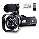 4K Camcorder Vlogging Camera for YouTube Ultra HD 4K 48MP Video Camera with Microphone & Remote Control WiFi Digital Camera 3.0' IPS Touch Screen