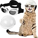 Pet Dog Helmet and Goggles Set Stylish Waterproof Adjustable Strap Sunglasses and Riding Motorcycles Bike Outdoor Activities Safety Pet Doggie Helmet Cap for Small Dog and Cat