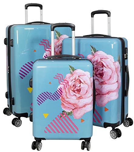 Trendyshop365 Koffer-Set Hartschale Rose Blumen-Motiv 4 Räder Zahlenschloss türkis
