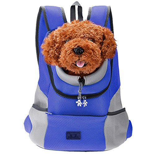 CozyCabin Latest Style Comfortable Dog Cat Pet Carrier Backpack Travel Carrier Bag Front for Small Dogs Puppy Carrier Bike Hiking Outdoor (M, Blue)