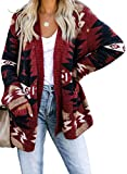Dokotoo Women Oversized Open Front Loose Long Sleeve Winter Casual Aztec Print Chunky Cardigans Sweaters Knitted Coats Red XL
