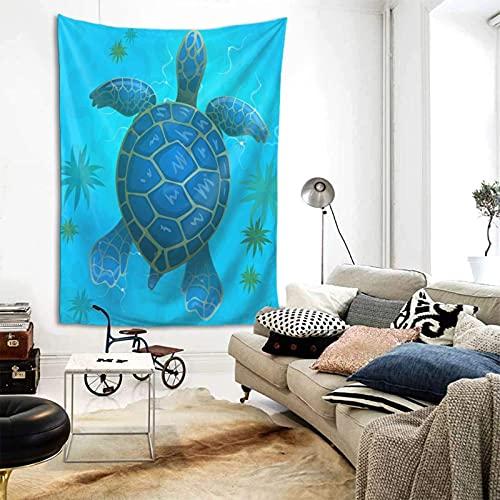 Tapiz de tortuga azul de dibujos animados para colgar en la pared, tapices de pared verticales de tortugas aniaml acuáticas subacuáticas Tapiz recto para dormitorio, sala de estar, dormitorio,