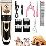 Eyeleaf Pet Dog Grooming Clippers - Rechargeable Low Noise Cordless Pet Clippers, Professional Dog Hair Trimmer Grooming Kit with 4 Guide Combs and Cleaning Brush Nail Kits for Dogs Cats Any Animals