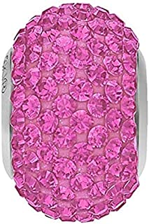 SWAROVSKI Pave Bead Rose Color Stainless Steel Becharmed 14 mm-9.30 mm