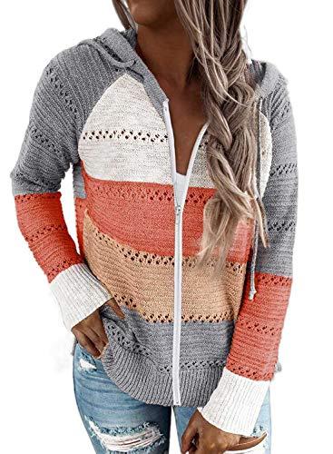 FIYOTE Winterjacke Winter Pullover Strickpullover Damen Sweatshirt Hoodie Pulli Herbst Oberteile Tops