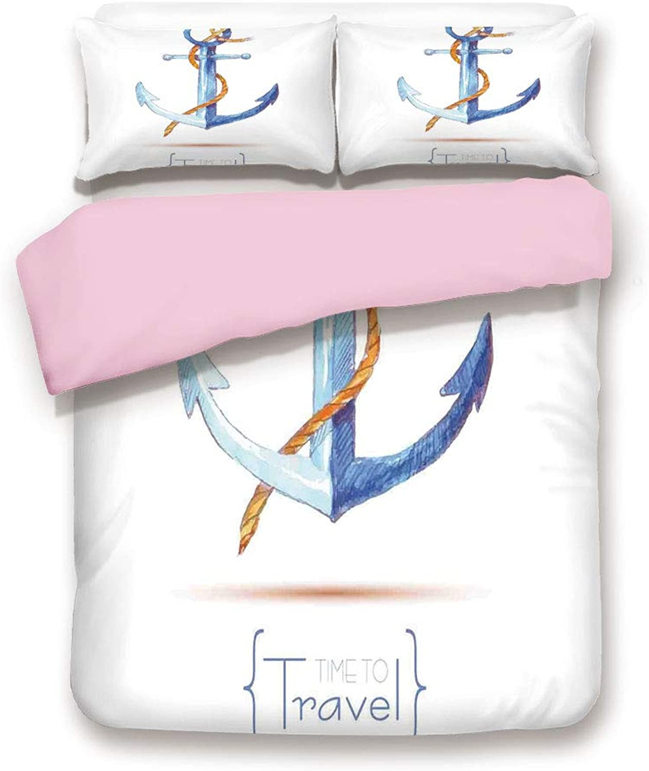 Pink Duvet Cover Set,Queen Size,Watercolors Anchor Rope Time to Travel Naval Classic Sail Emblem Drogue Voyage,Decorative 3 Piece Bedding Set with 2 Pillow Sham,Best Gift For Girls Women,bluee White Br