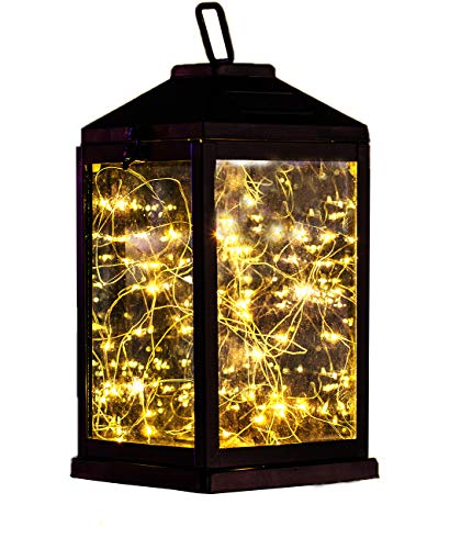 "Solar Lantern Lights Metal Sunwind with 30 Warm White LEDs Fairy String Lights Outdoor Decorative Table Lamp (Black-11.4""H)"