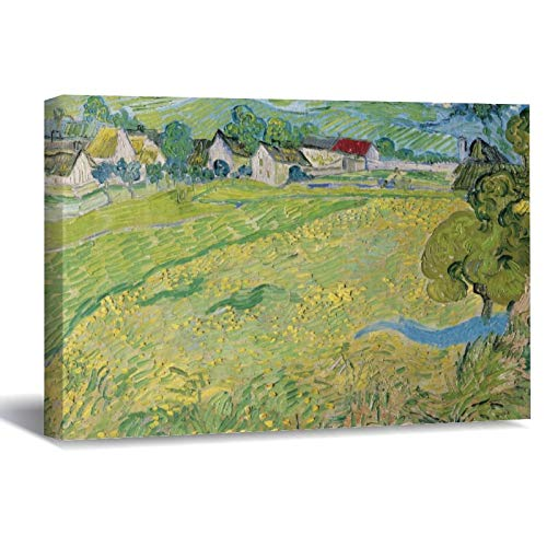 View of Vessenots Near Auvers by Vincent Van Gogh Canvas Picture Painting Artwork Wall Art Poto Framed Canvas Prints for Bedroom Living Room Home Decoration, Ready to Hanging 8'x12'