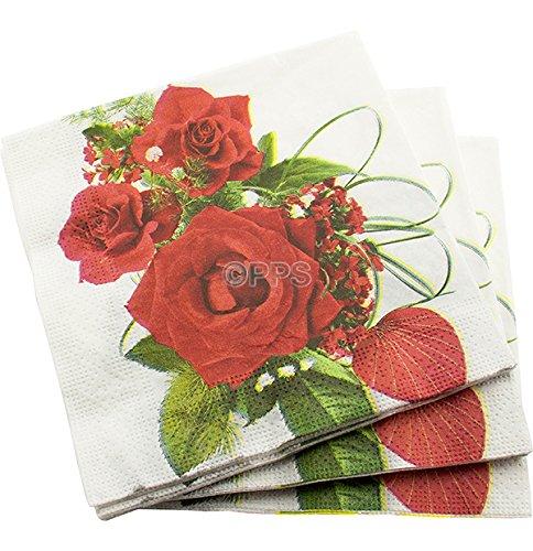 200 de luxe 3 plis Rose rouge Motif Serviettes en papier – 33 cm x 33 cm – Idéal pour les mariages, baptêmes, fêtes, barbecues, etc. Livraison gratuite