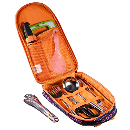Selpa 8 Pieces Camping Kitchen Utensils Set Outdoor Hiking Backpack