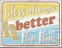 人生は常により良いビーチサンダルビーチハウス夏-ブリキのサインヴィンテージノベルティ面白い鉄の絵の金属板