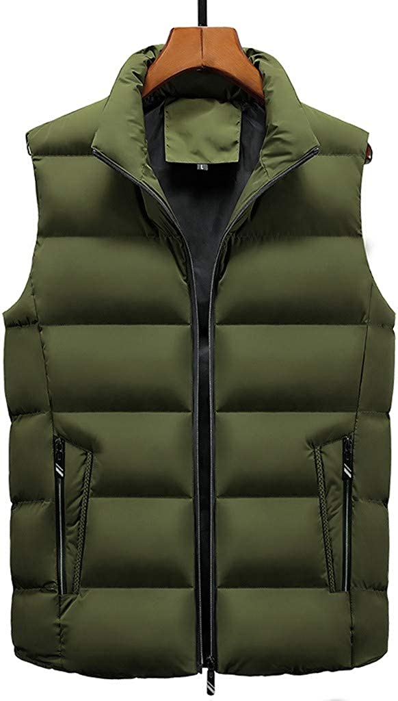 cobcob Mens Vest Winter,Males Zipper Pockets Solid Coat Warm Sleeveless Plus Size Outwear Down Vest