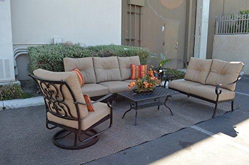 Theworldofpatio Santa Anita Cast Aluminum Powder Coated 5-piece Seating Set - Antique Bronze