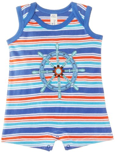 Sense Organics - Combinaison Bébé garçon Holly Sleeveless Envelope Neck Romper - Bleu (Blue Multi Stripe) - 6 mois