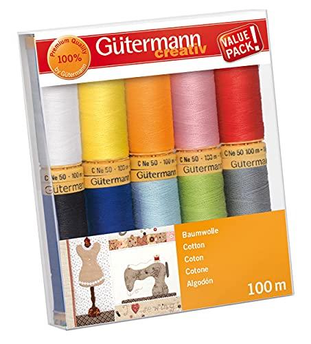 Gutermann 734521-2 Lot de 10 Bobines de Fil en Coton Naturel Multicolore 100 M