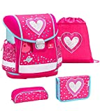 Belmil Schulranzen Set 4 - teilig ergonomischer Schulranzen Mädchen 1. klasse 2. klasse 3. klasse - Super Leicht 860-950 g/Grundschule/Herz, Heart/Pink, Rosa (403-13 Heart)
