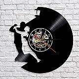 BFMBCHDJ Waltz Dance Vinyl Wanduhr Tanzen Kunst Wanddekor Musik LP Rekordzeit Uhr Handgefertigte Uhr Wanduhr Geschenk Tänzerin Mit LED 12 Zoll