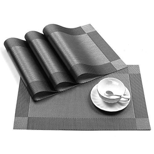 U'Artlines Placemat, Crossweave Woven Vinyl Non-Slip Insulation Placemat Washable Table Mats Set of 6 (6pcs placemats, Grey)