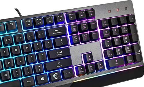 MSI Vigor GK30 IT Tastiera Gaming Semi Meccanica con Retroilluminazione LED RGB Mystic Light, Hotkey Multimediali, Anti-Ghosting, Idrorepellente, per Gaming e Ufficio, Layout Italiano QWERTY