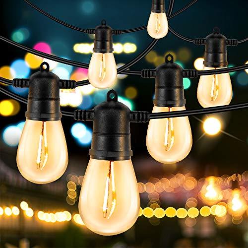 Outdoor String Lights, HueLiv 2 Pack 48FT LED WarmWhite Patio Lights, 30 Sockets, Commercial-Grade ETL Approved Waterproof Decorative Lights, Bistro Backyard Cafe, Outdoor/Indoor, 1W, 96FT, Halloween