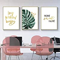 Pineapple Canvas Print Plant Pictures Leaves Wall Art Poster And Prints Wall Pictures For Living Room 51x71cmx3 Unframed