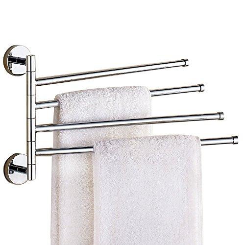 Weare Home - Portasciugamani moderno con finitura cromata a 4 bracci, porta asciugamani da bagno, accessori da bagno, accessori da parete, in ottone