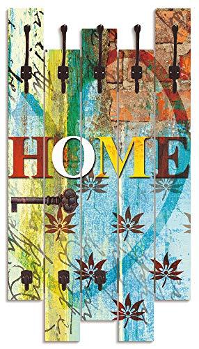 Artland Wandgarderobe Holz Design mit 8 Haken Garderobe Paneel mit Motiv 63x114 cm Schriftzug Shabby Chic Landhaus Kunst Home Zuhause Bunt T9HY