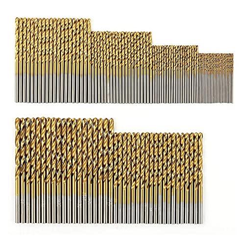 Drill Bits, 120 Pcs Titanium Drill Bit Set HSS Drill Bits for Metal, Steel, Wood, Plastic, Copper, Aluminum Alloy, 1mm to 3.5mm for Wood Plastic Aluminum (Color : Gold)