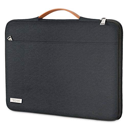 TECOOL Funda Ordenador Portátil para 2018-2020 MacBook Air/Pro 13 Pulgadas, 12.3 Surface Pro 7/6, HP Envy 13, DELL XPS 13, 12.9 iPad Pro Tableta Bolsa con Mango Retráctil, Negro